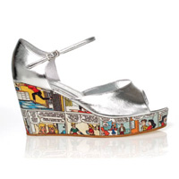 Peep-toe cartoon wedge