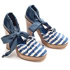 Chloe Canvas Ankle-Tie Heels