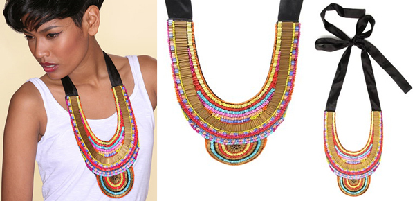 ASOS Embroidered Fabric Bib Style Necklace