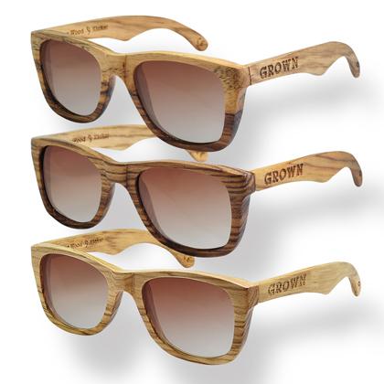 'KICKER' Dumu Wood & 'KICKER' ZebraWood Wayfarer Styles.