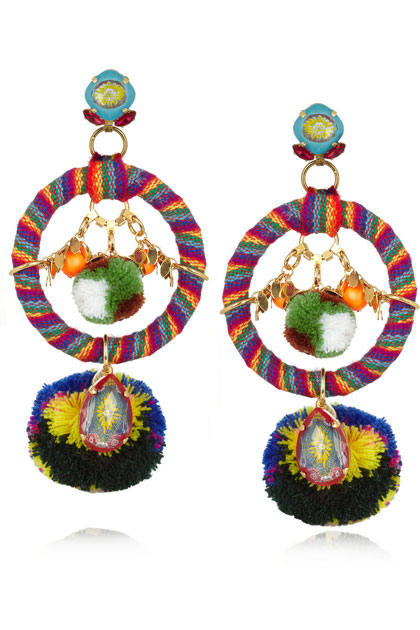 Mario Testino for MATE by VICKIBEAMON gold-plated, Swarovski crystal and pompom Clip Earrings.