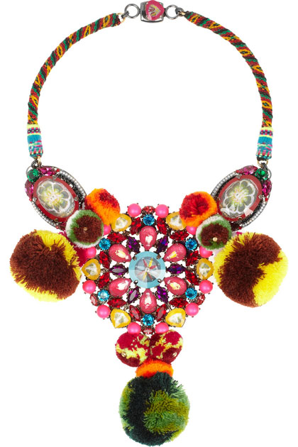 Mario Testino for MATE by VICKIBEAMON Ruthenium-Plated, Swarovski Crystal and Pompom Necklace