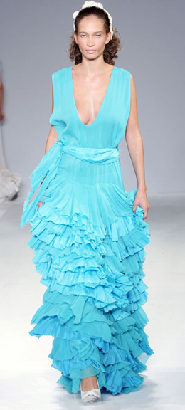 A model shows a design of Avshalom GUR's Summer 2007 collection. Photo by Ian Gillett, 2006