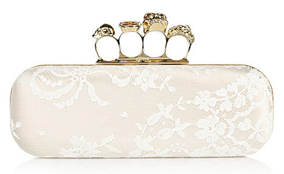 Alexander McQueen - Knuckle Lace-Covered Satin Box Clutch