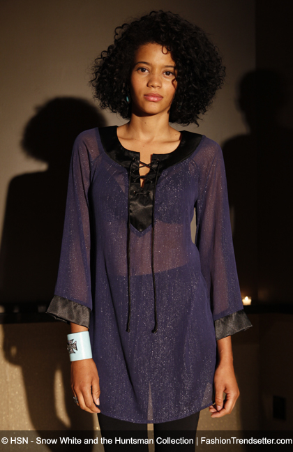 Atwood by Colleen Atwood - Lurex Chiffon Lace Up Tunic, Available in Navy/Black & Gold, HSN Price: $69.90