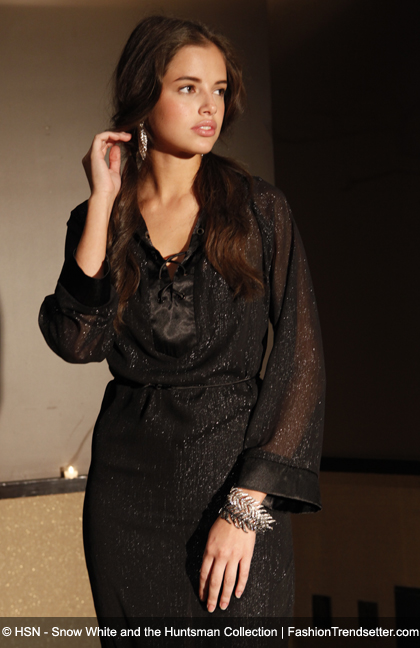 Atwood by Colleen Atwood - Lurex Chiffon V-Neck Caftan with Lace Up Detail, Available in Black or Gold, HSN Price: $89.90