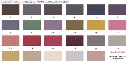 Premi�re Vision | Autumn / Winter 2007/2008 Color Card