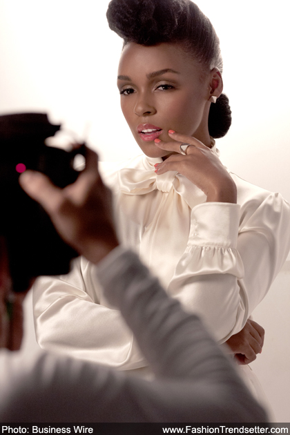 Janelle Monae poses behind-the-scenes for her first ad shoot with COVERGIRL cosmetics.