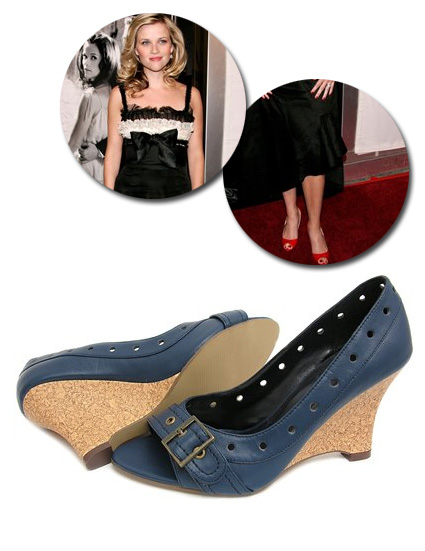 Peep Toe Cork Wedge in the style of Reese Witherspoon