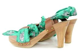 Scarf Tie Wooden Sandal