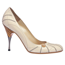 Pump in aged leather, 10 cm heel