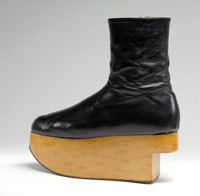 "Vivienne Westwood, ""Rocking Horse"" boots, leather and wood, 1987, England, Gift of Francisco Melendez A.K.A. Francois. Photo Courtesy of FIT."