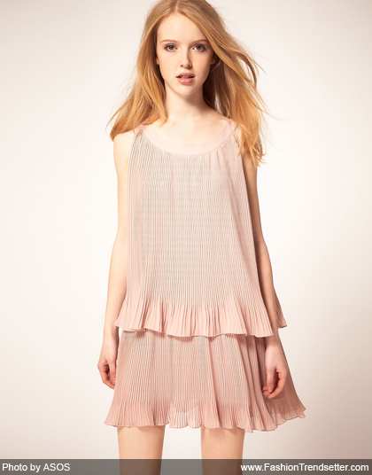 Rare Chiffon Pleat Skater Dress