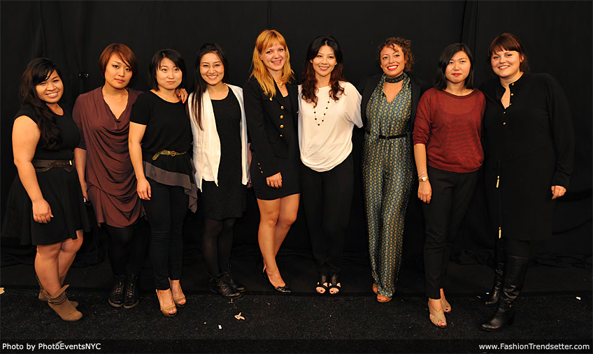 Academy of Art University Spring 2013 Designers (Left to Right): Stephina Touch, Ginie C. Y. Huang, Yanfei Fan, Jarida Karnjanasirirat, Jie Jessie Liu, Liza Quiñones, Jisun Lee, and Iglika Vasileva Matthews.