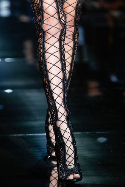 Thigh high lace ups at Tom Ford.