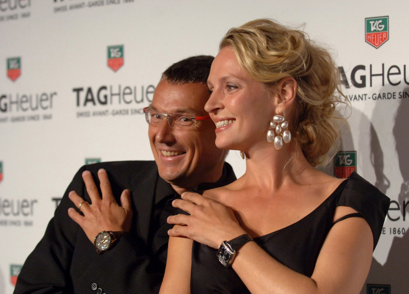 TAG Heuer President and CEO Jean-Christophe Babin & Uma Thurman