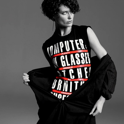 T-shirt designed by Barbara Kruger, worn by Shalom Harlow ($28)