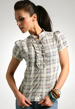 Fairground Check Cotton Frill Front Shirt