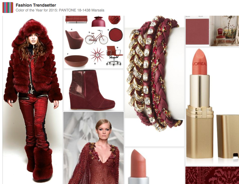 Pantone Color Of The Year For 2015 Pantone 18 1438 Marsala Pinterest Board Fashion Trendsetter