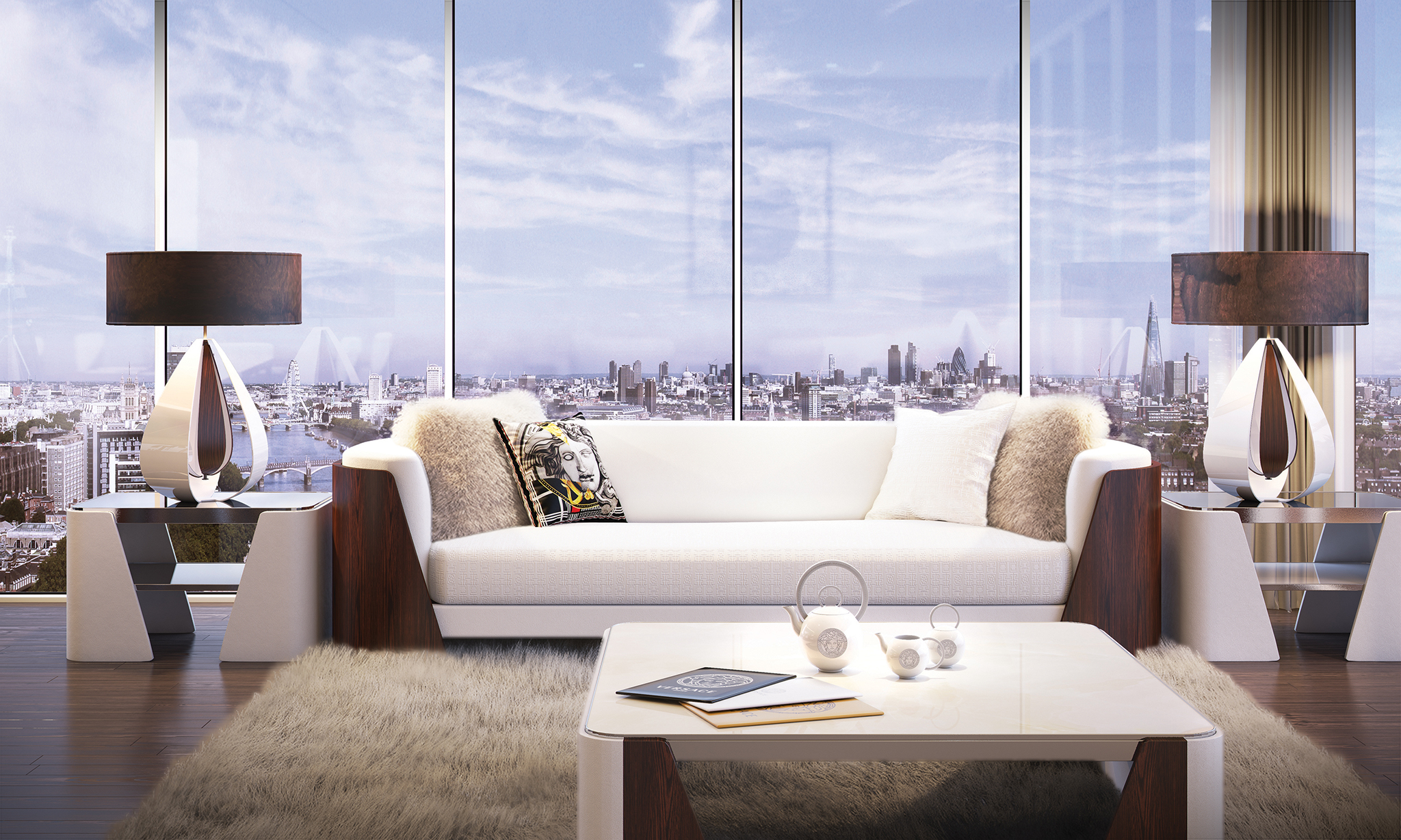 50 storey aykon nine elms to feature interiors by versace home fashion trendsetter. Black Bedroom Furniture Sets. Home Design Ideas