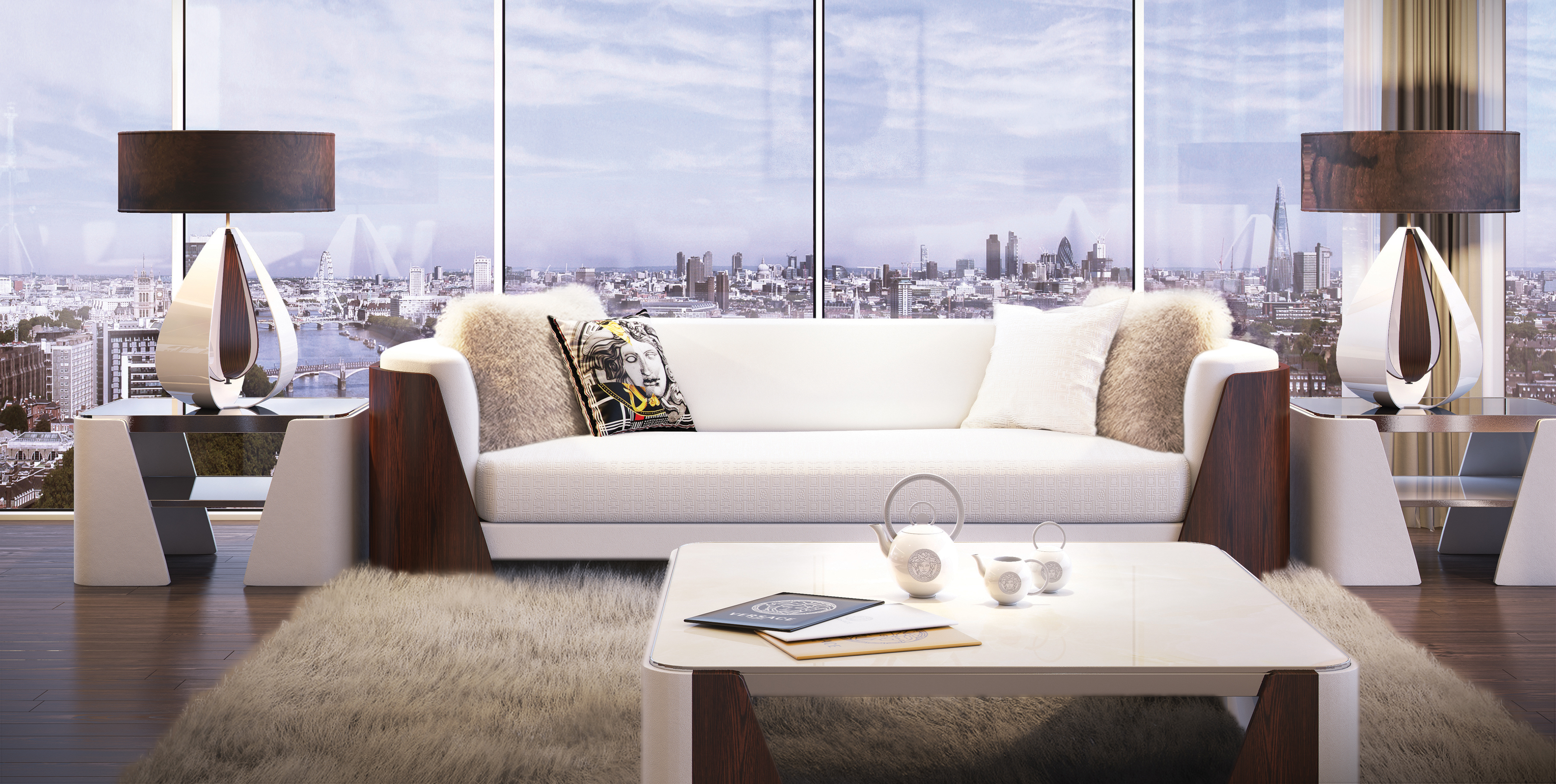50 storey aykon nine elms to feature interiors by versace for Home wallpaper 2016