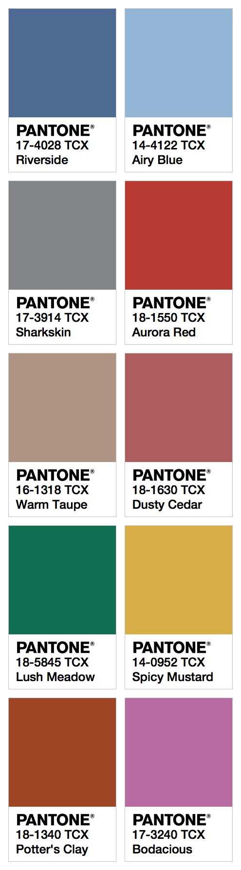 Pantone Fcr Fall 2016 Color Card