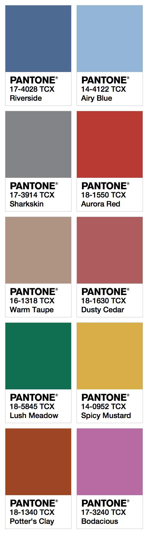 Top Ten Colors For Fall 2016