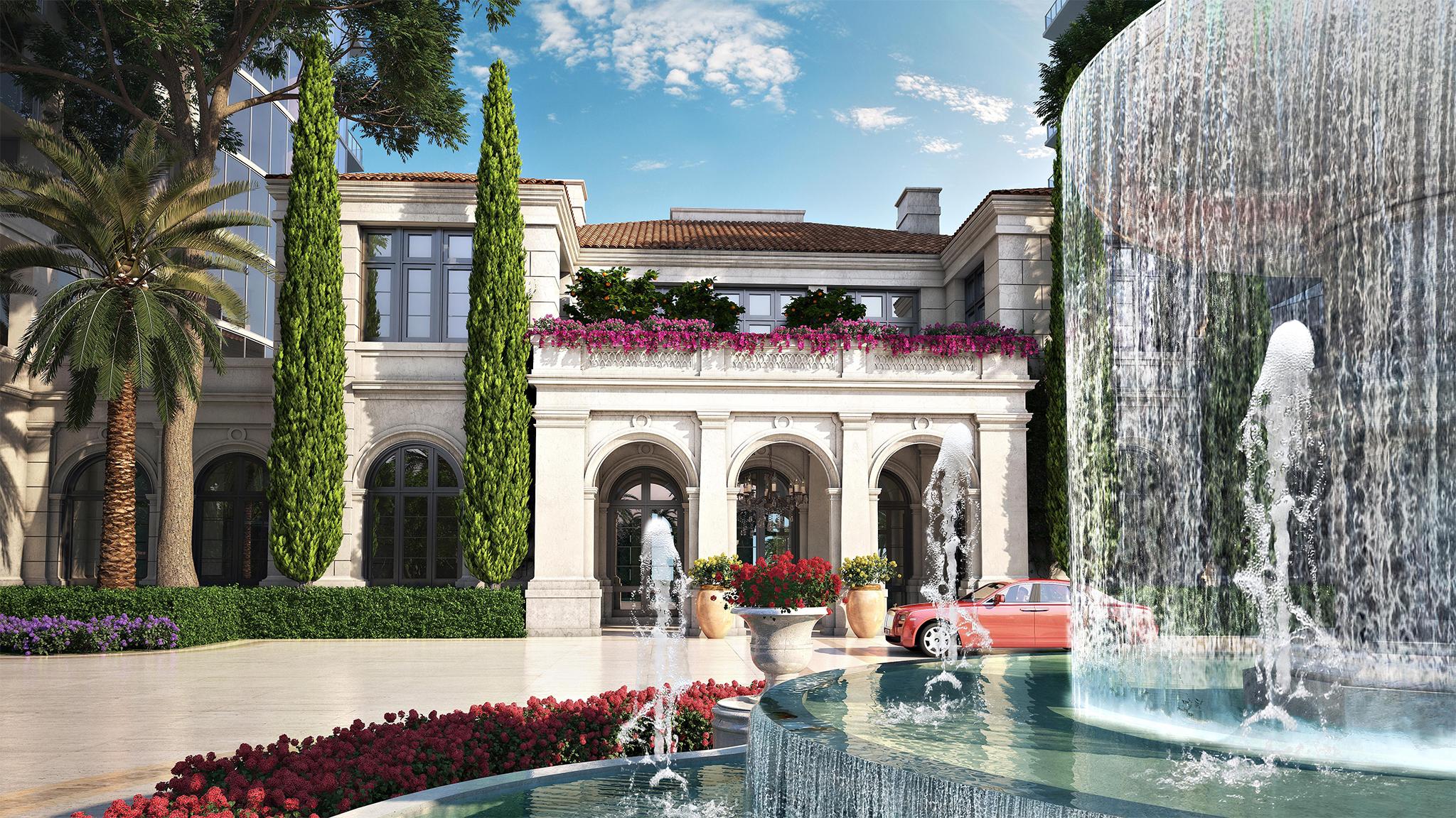 Estates-Acqualina-Villa-Front-with-Fountain