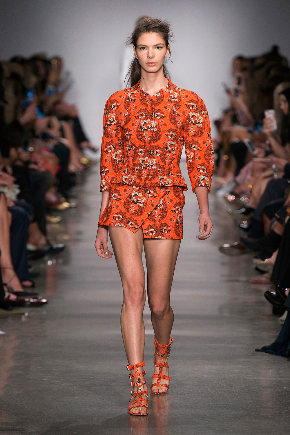 Look 2: Orange Jacket and Shorts