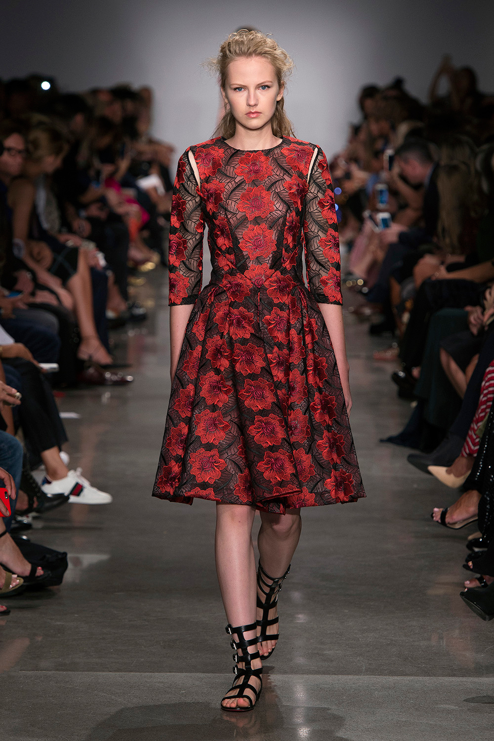 Look 31: Red and Black Floral Dress