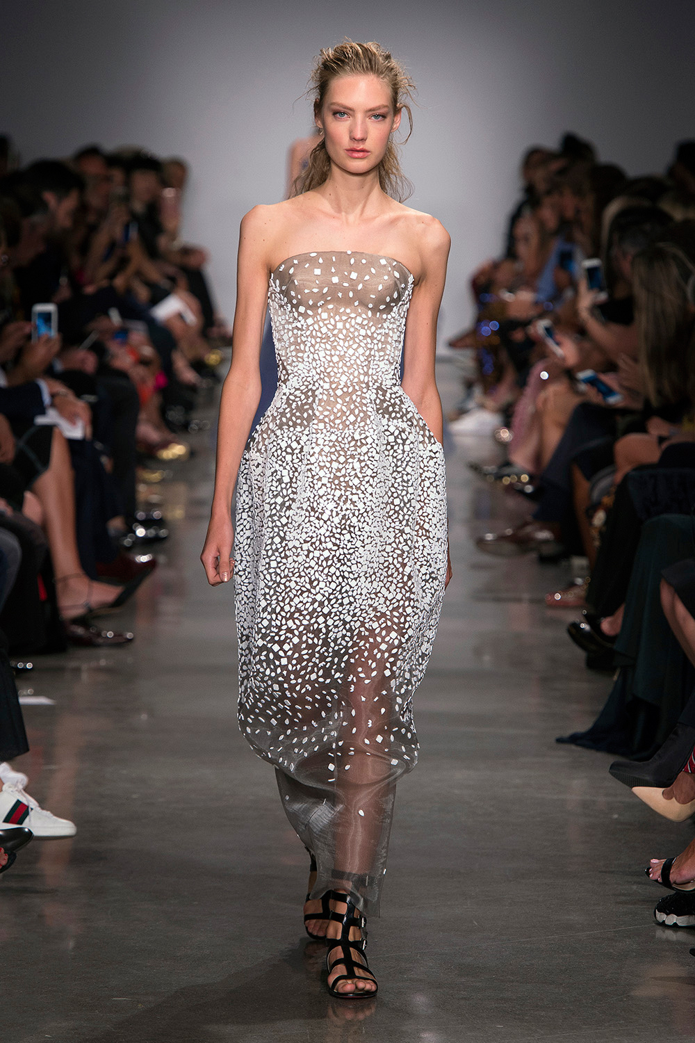Look 47: Beaded Strapless Dress