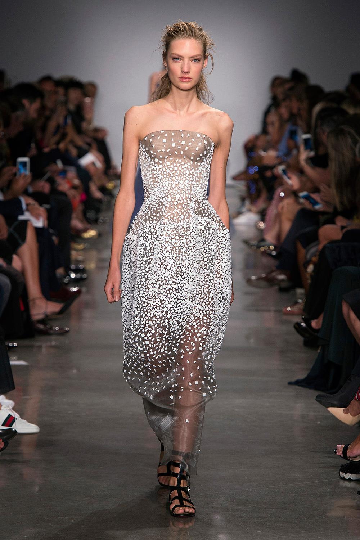 Look 47: Beaded Strapless Dress