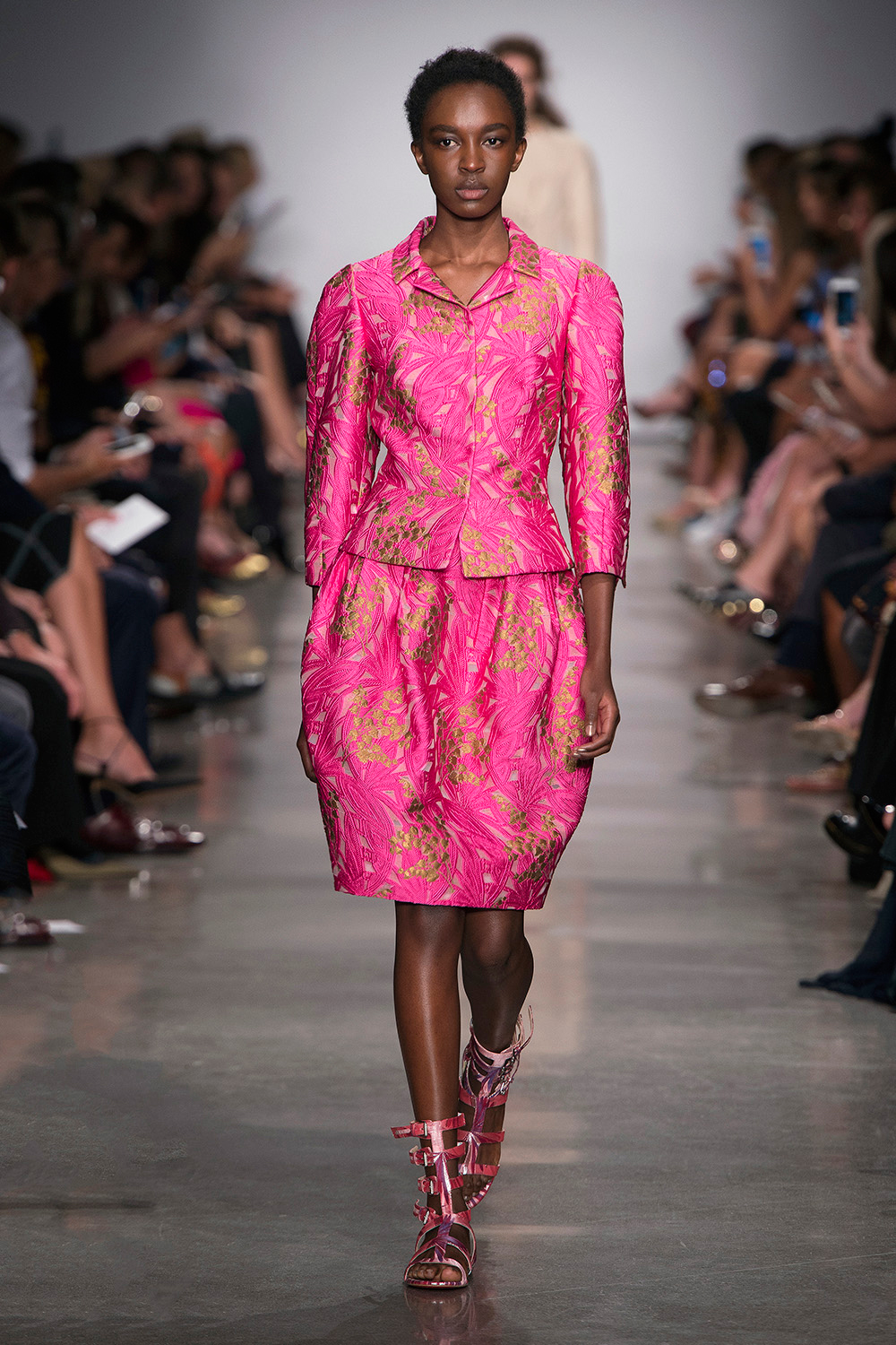 Look 5: Pink Jacket and Skirt