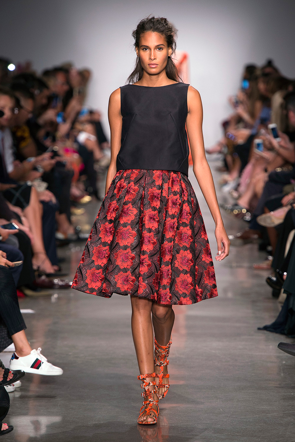 Look 5: Red and Black Floral Skirt with Black Top