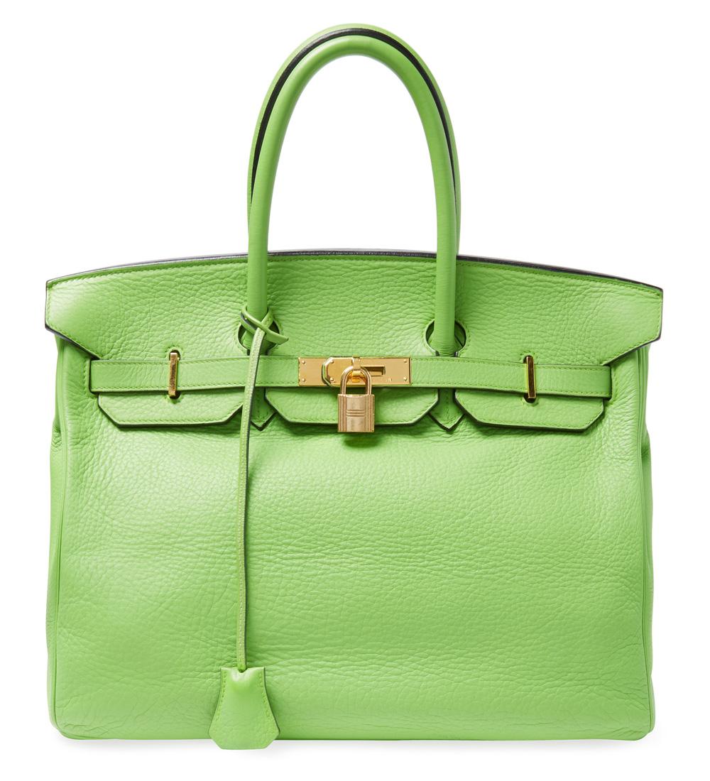 Hermes Granny Green Clemence Birkin Bag