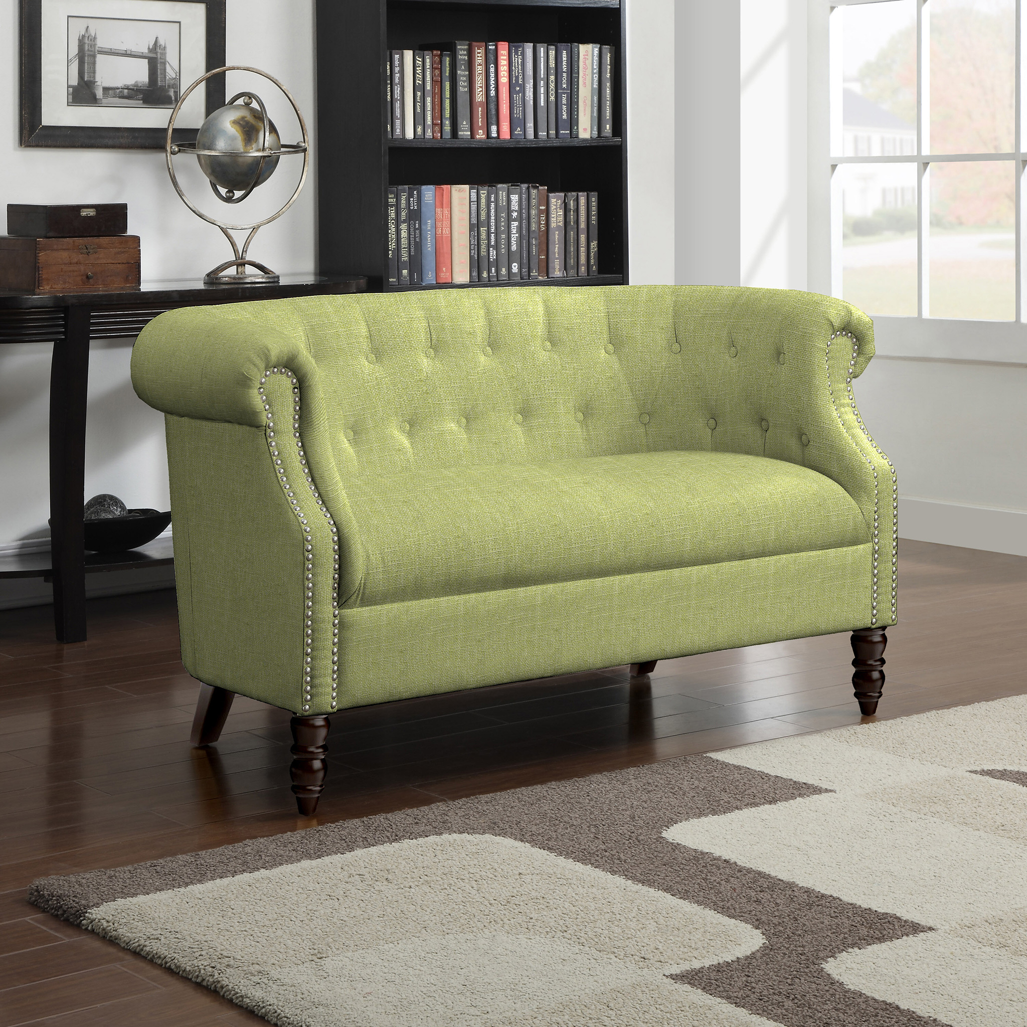 Pantone Color of the Year 2017: PANTONE 15-0343 Greenery | Huntingdon Love Seat by Three Posts