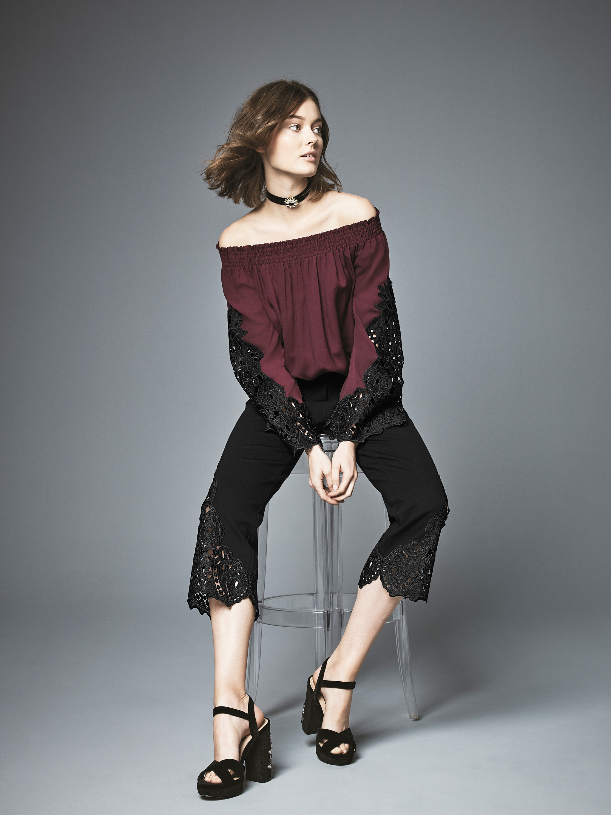 KOBI Off-The-Shoulder Crochet-Lace Top & Cropped Pants, Created For Macy's
