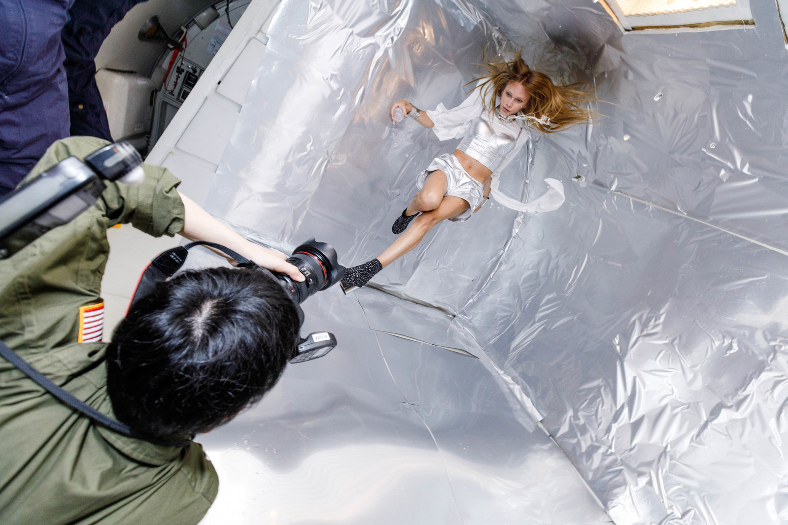 Stav Strashko gracefully poses while experiencing weightlessness during Wix's Capture Your Dream Photo shoot in ZERO-GRAVITY. Source: Reiko Wakai for Wix.com's Capture Your Dream Photo campaign
