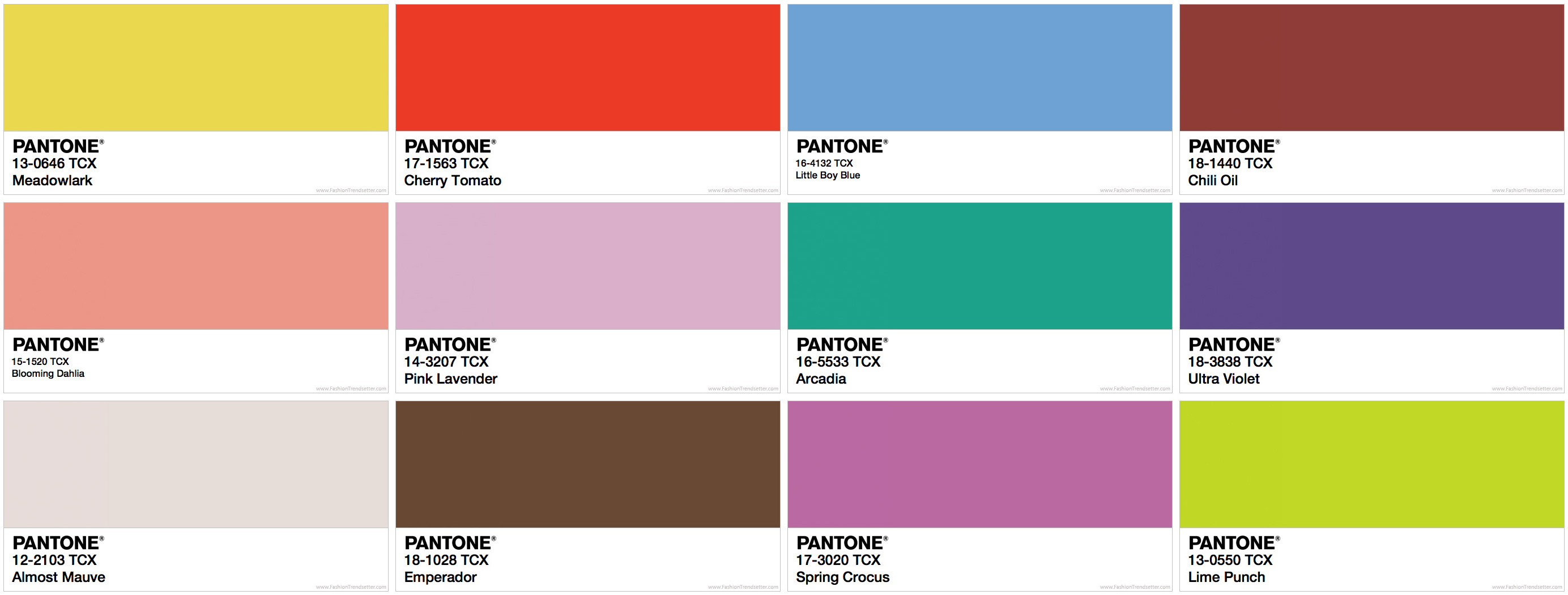Pantone Fashion Color Trend Report Spring 2018 | Color Card