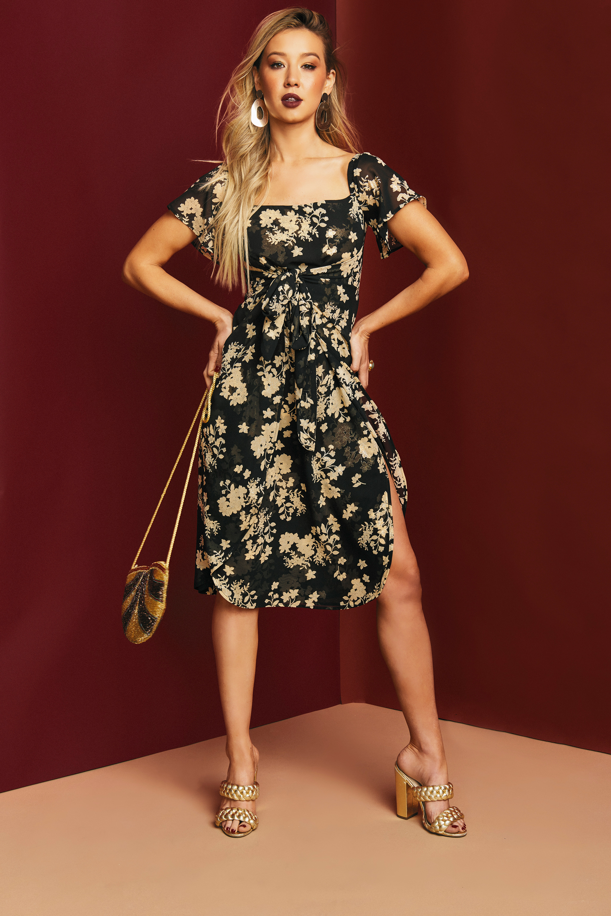 015ba4d7ee5 Versatile floral midi dress. Synch your waist with the flattering front  tie. This dress features back zip closure and elastic shoulders that allow  you pick ...