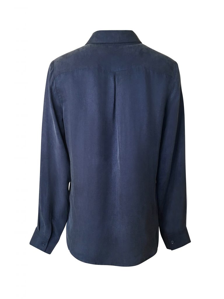 Hilary MacMillan Signature Sustainable Blouse in Blue, $220 CAD/$165 USD.