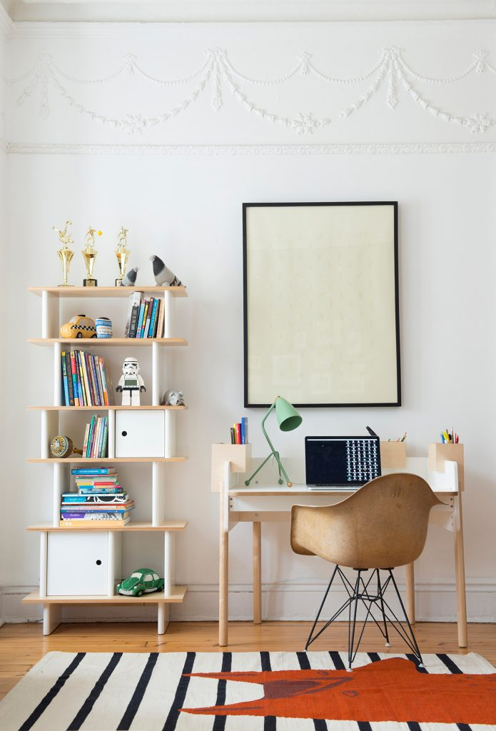 Oeuf Brooklyn Height Adjustable Desk & Bookcase in White & Birch  Oeuf Brooklyn Height Adjustable Desk - £540.00, Oeuf Bookcase in White & Birch, Tall - £555.00.