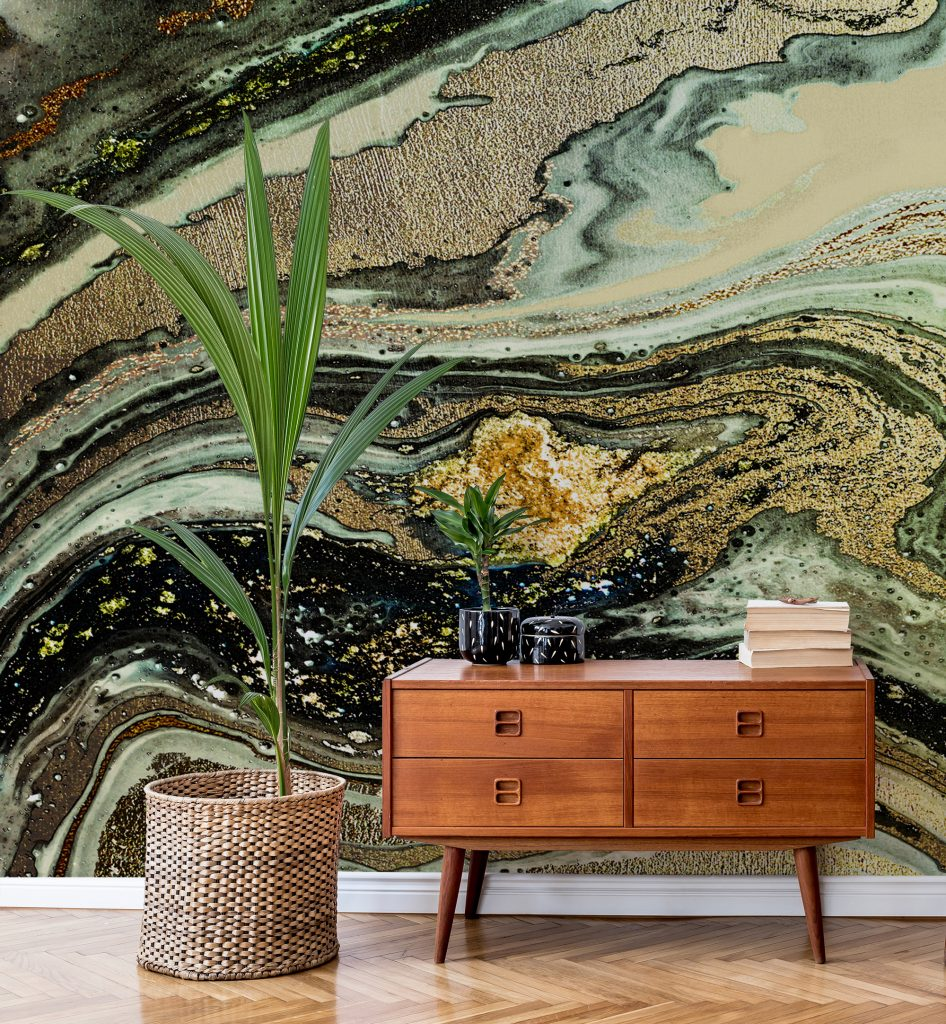 'Caramel Gold Marble' Mural by Lara Skinner at Wallsauce.com