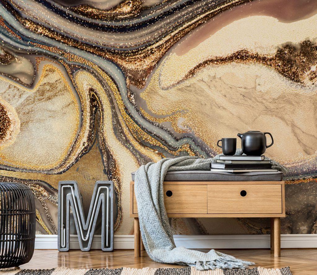 'Creamy Caramel Geode' Mural by Lara Skinner at Wallsauce.com