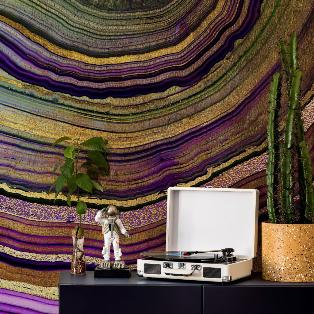 'Plum Gold Geode' Mural by Lara Skinner at Wallsauce.com