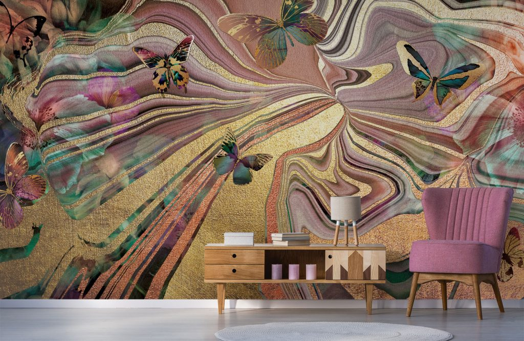 'Rose Agate Butterflies' Mural by Lara Skinner at Wallsauce.com