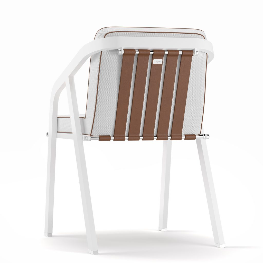 Dining Chair | Ribbon White Chrome.