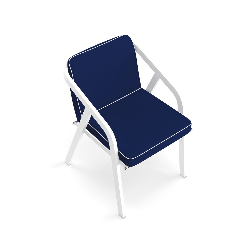Dining Chair | Ribbon Dining Chair White & Classic Blue.