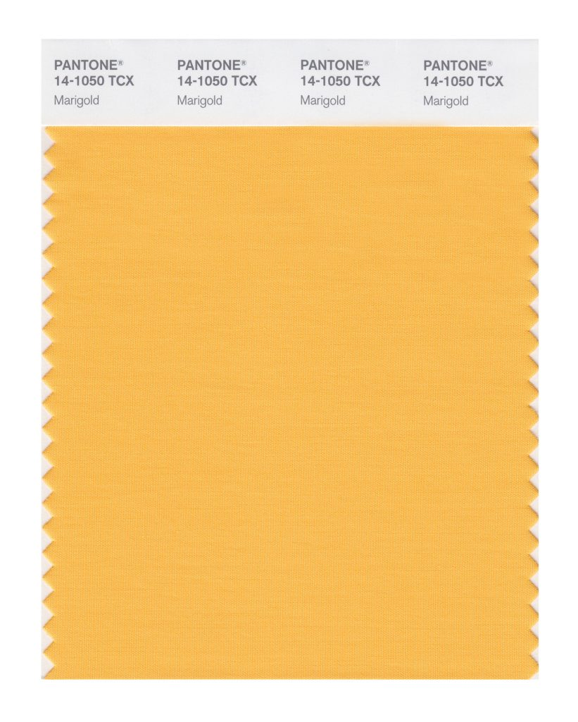 PANTONE 14-1050 TCX  Marigold. A comforting golden orange infused yellow lends a warming presence.