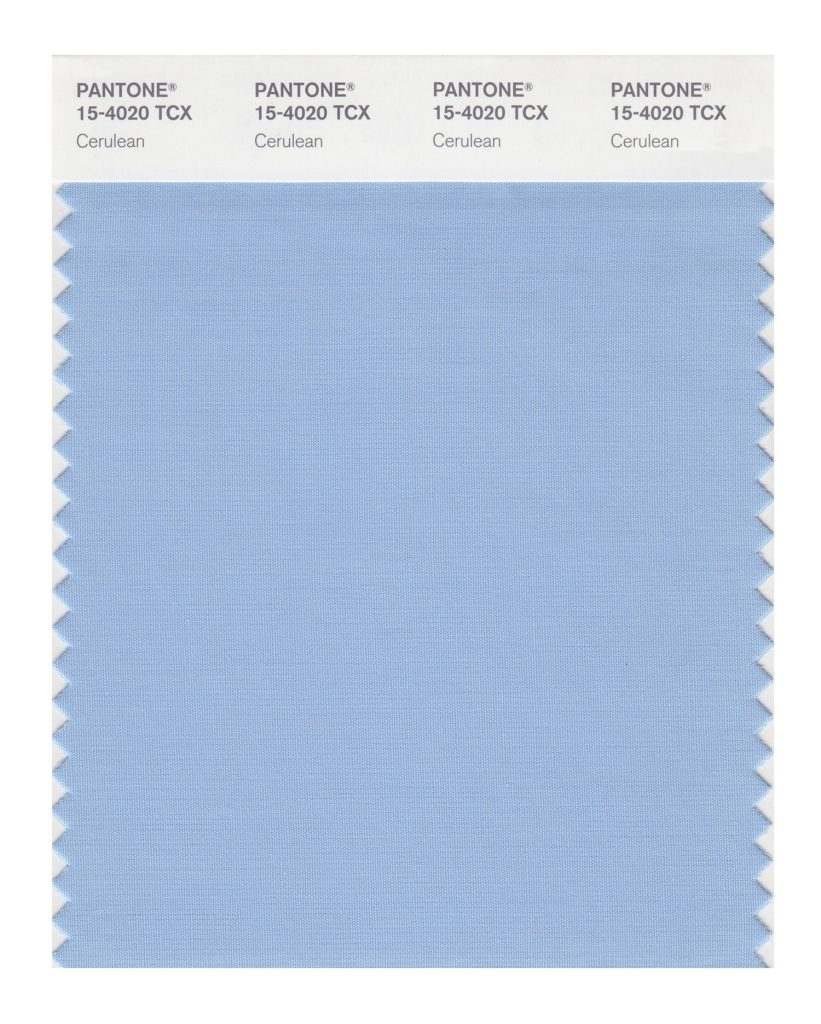 PANTONE 15-4020 TCX Cerulean. The color of the sky on a serene, crystal clear day.